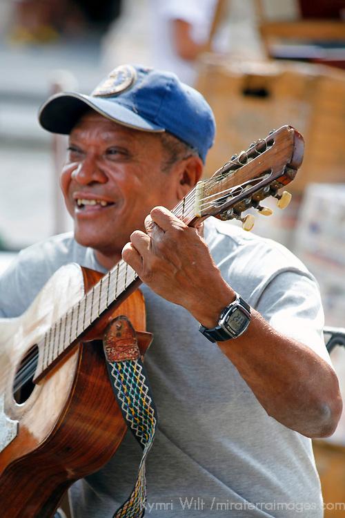Central America, Cuba, Havana. Happy Havana Guitarist.