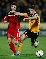 Bristol City's Richard Foster battles with Hull's Robbie Brady- Photo mandatory by-line: Matt Bunn/JMP  - Tel: Mobile:07966 386802 19/04/2013 - Hull City v Bristol City - SPORT - FOOTBALL - Championship -  Hull- KC Stadium
