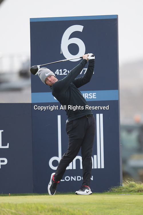4th October 2017, The Old Course, St Andrews, Scotland; Alfred Dunhill Links Championship, practice round; Rory McIlroy, of Northern Ireland, tees off on the sixth hole on the Old Course, St Andrews during a practice round before the Alfred Dunhill Links Championship