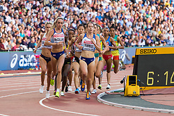 London, August 10 2017 . Eilish McColgan, and Stephanie Twell, Great Britain, in the women's 5,000m heats on day seven of the IAAF London 2017 world Championships at the London Stadium. © Paul Davey.