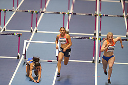 March 2, 2018 - Birmingham, United Kingdom - Elisavet Pesiridou (Greece) hits her hurdle and falls hard during the IAAF World Indoor Championships. (Credit Image: © Hurdles-3.jpg/SOPA Images via ZUMA Wire)