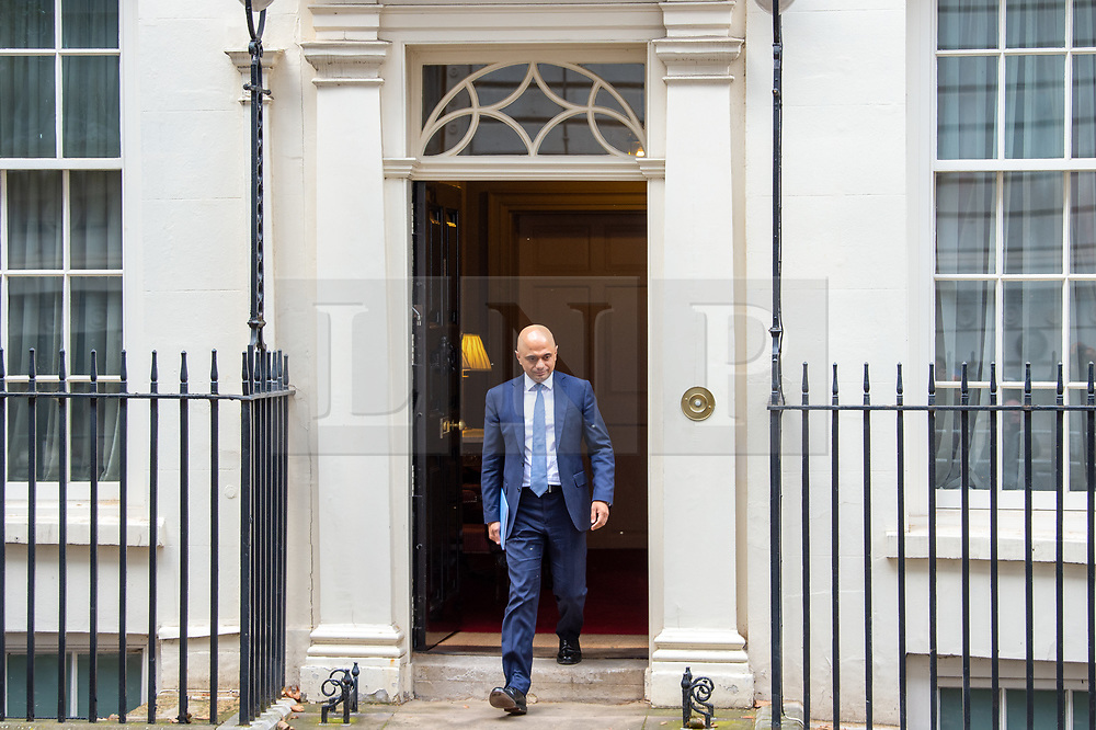© Licensed to London News Pictures. 04/09/2019. London, UK.The Chancellor of the Exchequer, Sajid Javid, departs Downing Street on his way to parliament where he will announce the conclusions of the Spending Round to set departmental budgets for 2020-2021. Photo credit: Peter Manning/LNP