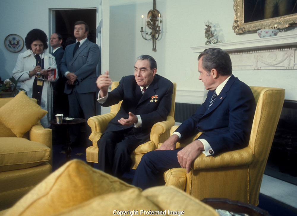 . Leonid Breshnev and President Nixon meeting in the Oval Office  during Leonid Breshnev's visit to the USA in June 1973...Photo by Dennis Brack BS B15
