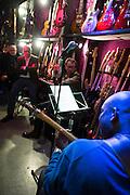 Frankfurt am Main   17 Mar 2014<br /> <br /> Bass Player Raoul Walton (blue cardigan) performs during a promo workshop for the Mesa Boogie Prodigy Bass Amplifier at Cream Music music store (Musikhaus B. Hummel) in Frankfurt, Germany.<br /> Walton was born in New York and lives in Munich now. He played with Gabi Delgado, Marius M&uuml;ller-Westernhagen, Rainbirds, Heinz-Rudolf Kunze, Einst&uuml;rzende Neubauten, Errorhead, Gianna Nannini, Helmut Zerlett, Mousse T., Brian Eno, Roachford, Julia Neigel and many others.<br /> <br /> &copy;peter-juelich.com<br /> <br /> [No Model Release   No Property Release]