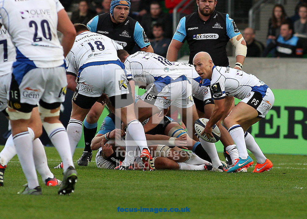 Peter Stringer of Bath Rugby during the European Rugby Champions Cup match at Scotstoun Stadium, Glasgow<br /> Picture by Ian Buchan/Focus Images Ltd +44 7895 982640<br /> 18/10/2014