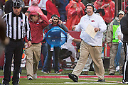 FAYETTEVILLE, AR - OCTOBER 11:  Head Coach Bret Bielema of the Arkansas Razorbacks on the sidelines during a game against the Alabama Crimson Tide at Razorback Stadium on October 11, 2014 in Fayetteville, Arkansas.  The Crimson Tide defeated the Razorbacks 14-13.  (Photo by Wesley Hitt/Getty Images) *** Local Caption *** Bret Bielema