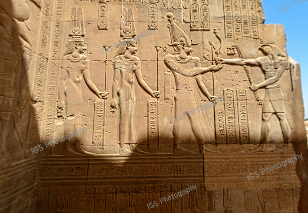 Wall Relief of Cleopatra III, Cleopatra II and Ptolemy VIII before Horus