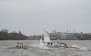 Putney. London, Varsity Fixtures,  NED row into Sailing Boat, watched on by CUBC. OUBC vs Molesey BC. and CUBC vs Select NED crew. on the championship Course Putney to Mortlake.  ENGLAND. <br /> <br /> Saturday  21/03/2015<br /> <br /> [Mandatory Credit; Intersport-images]
