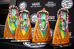 The trophies of the Hawaiian Pro at Haleiwa, Oahu, Hawaii, USA.
