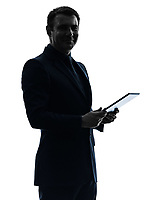 one  business man holding digital tablet posing portrait on white background