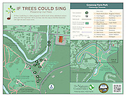 "Vector map illustration of Greenway Park and the North Chickamauga Creek Conservancy property in Chattanooga, Tennessee. The map shows the points of interest, the Greenway Dog Park, walking trails and access points. In addition, the map show the tree locations of the Nature Conservancy's ""If Tress Could Sing"" project."
