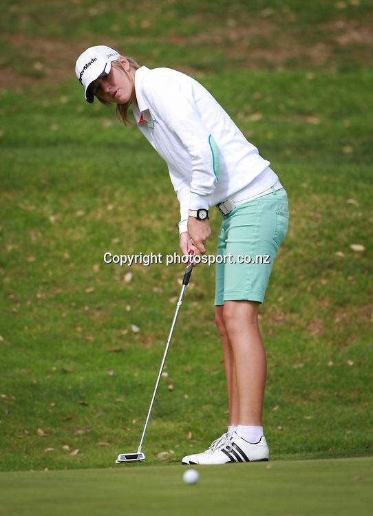 Emma Clayton on day two of the Taranaki Energy Open, New Plymouth Golf Club, New Zealand. Thursday 11 April 2013. Photo: John Cowpland / photosport.co.nz