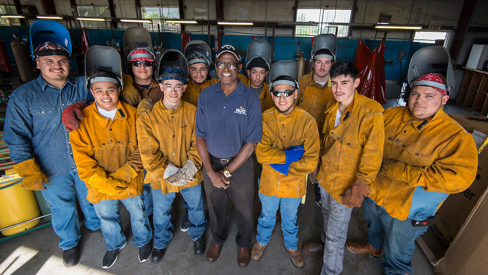 Austin High School students work on welding projects as part of a partnership with Houston Community College, May 19, 2014.