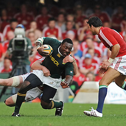 Tendai Mtawarira of South Africa is tackled by Paul O'Connell (Captain) of the British and Irish Lions <br /> during the British and Irish Lions tour 2009