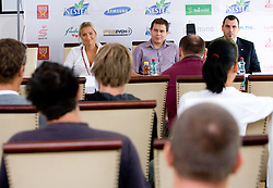 Erika Fabjan, Jure Jeraj and Igor Dolinsek, general secretary of Slovenian volleyball federation at press conference of Nestea BeachMaster tournament 2009 and Slovenian Beach Volleyball Tour,  on July 9, 2009, in Tivoli, Ljubljana, Slovenia. (Photo by Vid Ponikvar / Sportida)