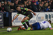 Forest Green Rovers Liam Shephard(2) beats Tranmere Rovers Liam Ridehalgh(3) during the EFL Sky Bet League 2 play off first leg match between Tranmere Rovers and Forest Green Rovers at Prenton Park, Birkenhead, England on 10 May 2019.