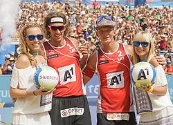 31.07.2016, Strandbad, Klagenfurt, AUT, FIVB World Tour, Beachvolleyball Major Series, Klagenfurt, Herren, im Bild Aleksandrs Samoilovs (1, LAT), Janis Smedins (2, LAT) // during the FIVB World Tour Major Series Tournament at the Strandbad in Klagenfurt, Austria on 2016/07/31. EXPA Pictures © 2016, PhotoCredit: EXPA/ Gert Steinthaler