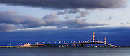 The Mackinaw Bridge Spanning Michigan's Upper And Lower Peninsulas On A Stormy Night, Michigan, USA