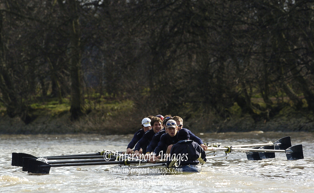 2005 Boat Race, Pre race fixture, Oxford UBC vs Leander Club, Putney, London;  ENGLAND; Oxford University Boat Club Bow Robin Bourne-Taylor, 2. Barney Williams, 3. Peter Reed. 4. Joe Von Maltzahn, 5. Chris Liwski, 6. Mike Blomquist, 7. Jason Flickinger, Stroke, Andrew Twiggs-Hodge and Cox Acer Nethercott,  Photo  Peter Spurrier. .email images@intersport-images...[Mandatory Credit Peter Spurrier/ Intersport Images] Varsity:Boat Race Rowing Course: River Thames, Championship course, Putney to Mortlake 4.25 Miles