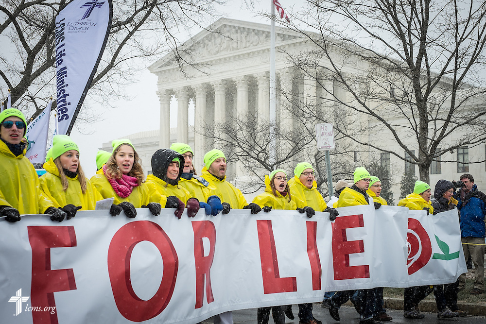 Lutherans lead the 2016 March for Life past the Supreme Court on Friday, Jan. 22, 2016, in Washington, D.C. Michael Schuermann for LCMS Communications