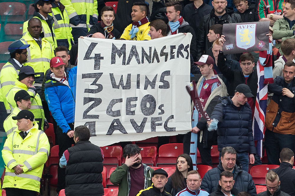 © Licensed to London News Pictures . 16/04/2016 . Manchester , UK . Aston Villa fans at Old Trafford after their team's 0-1 loss to Manchester United consigns them to relegation from the Premier League . Photo credit: LNP