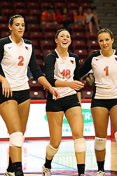 01 September 2012:  LeighAnn Hranka, Kaitlyn Early and Sierra Burris celebrate after a point during an NCAA womens volleyball match between the Oregon State Beavers and the Illinois State Redbirds at Redbird Arena in Normal IL