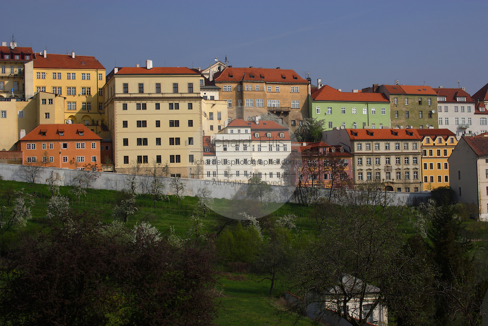 View of the Little Quarter from Petrin Hill Prague, Czech Republic. The area first constructed in 1257 is one of the most preserved areas with architecture spanning the middle ages through Baroque.