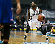 Jerice Crouch of the Razorsharks looks for an open teammate during a game against the Carolina Vipers at the Blue Cross Arena on Saturday, December 6, 2014.
