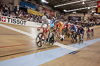 21 January 2007:  Women's cyclist Sarah Hammer (USA) leads the pack and wins first place during the Women's scratch race at the UCI Track Cycling World Cup Classics @ the Home Depot Center, Carson CA.