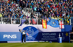 Solheim Cup 2019 at Centenary Course at Gleneagles in Scotland, UK. Azahara Munoz of Europe tees off on 1st hole during the Friday morning Foursomes.