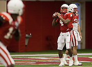 March 27, 2013: Quarterback Tommy Armstrong #4 making a pass during practice at Hawks Championship Center in Lincoln, Nebraska.