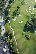 Aerial view of fairway and green at Westin Hills Country Club, Westin, Fl, early morning