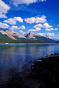 Afternoon light on Mount Sampson from the shore of Maligne Lake (ferry visible), Jasper National Park, Alberta, Canada.