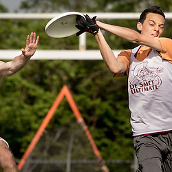 Lisa Johnston | lisajohnston@archstl.org | Twitter: @aeternusphoto <br /> Alex LaBarge caught the frisbee pass out of the reach of defenseman Sean Higgins.<br /> DeSmet Jesuit High School's Ultimate Frisbee team is have won eight championships in a row and are in the middle of another winning season.
