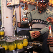 Thandai is a Varanasi speciality. It is a cooling drink made of purified water, sugar, seeds of watermelon and muskmelon, almonds, lotus stem seeds, cashewnut, cardmom, saunf, rose-flower, white pepper, saffron and bhang. Bhang is the intoxicant! It is made from a leaf that grows wildly in Uttar Pradesh and Bihar, like opium and marijuana, but which farmers need a government licence to cultivate and sell. A spoon of bhang in the thandai makes a world of a difference. Bhang is mixed with milk, ice and cream, and added to the thandai to produce a kick!