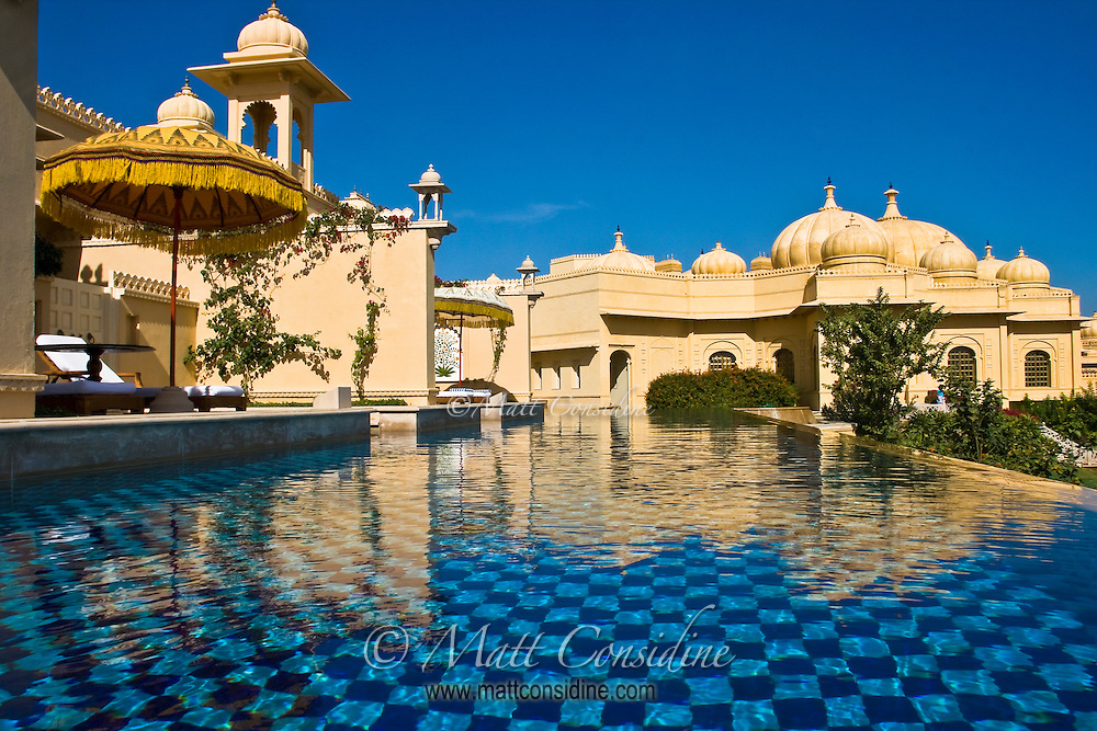 View from Pool of Onion Style Dome of the Oberoi Udaivilas on a perfect sky blue day in Udaipur India.<br /> (Photo by Matt Considine - Images of Asia Collection)