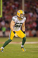 12 January 2013: Linebacker (52) Clay Matthews of the Green Bay Packers in game action against the San Francisco 49ers during the first half of the 49ers 45-31 victory over the Packers in an NFL Divisional Playoff Game at Candlestick Park in San Francisco, CA.