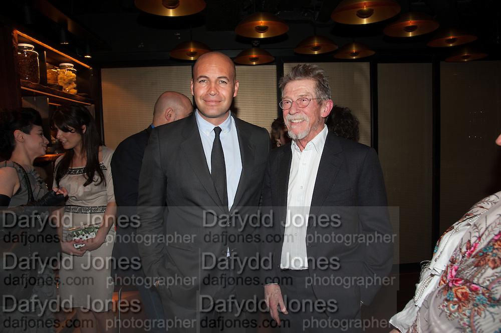 BILLY ZANE; JOHN HURT, Liberatum Cultural Honour  for John Hurt, CBE in association with artist Svetlana K-Lié.  Spice Market, W London - Leicester Square
