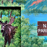 Bull Moose and No Parking Sign Mural in Jackson, Wyoming<br />