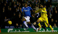 Birmingham attacker Cameron Jerome (left)and Leeds Rui Marques (right) chase a through ball