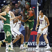 STORRS, CONNECTICUT- NOVEMBER 17: Beatrice Mompremier #32 of the Baylor Bears is challenged by Crystal Dangerfield #5 of the UConn Huskies during the UConn Huskies Vs Baylor Bears NCAA Women's Basketball game at Gampel Pavilion, on November 17th, 2016 in Storrs, Connecticut. (Photo by Tim Clayton/Corbis via Getty Images)