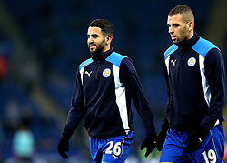 Riyad Mahrez of Leicester City and Islam Slimani of Leicester City - Mandatory by-line: Robbie Stephenson/JMP - 31/12/2016 - FOOTBALL - King Power Stadium - Leicester, England - Leicester City v West Ham United - Premier League