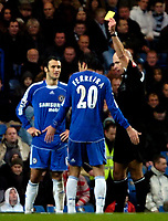 Photo: Ed Godden.<br />Chelsea v Fulham. The Barclays Premiership. 30/12/2006.<br />Chelsea's Paulo Ferreira is shown the yellow card.