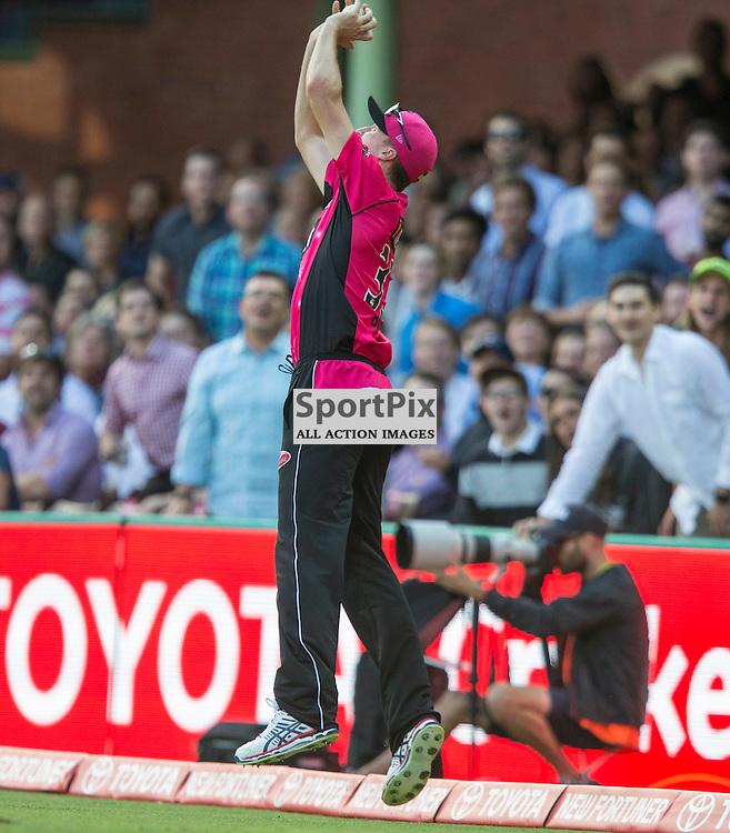 KFC Big Bash League T20 2015-16 , Sydney Sixers v Sydney Thunder, SCG; 16 January 2016<br /> Sydney Sixers Jackson Bird takes a catch on the boundary to dismiss Sydney Thunder Shane Watson
