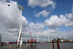 The new Emirates Airline cable car which runs across  the River Thames from the O2 to the Royal Docks and will open for  passengers on 28th June 2012 Photo by: Stephen Lock / i-Images