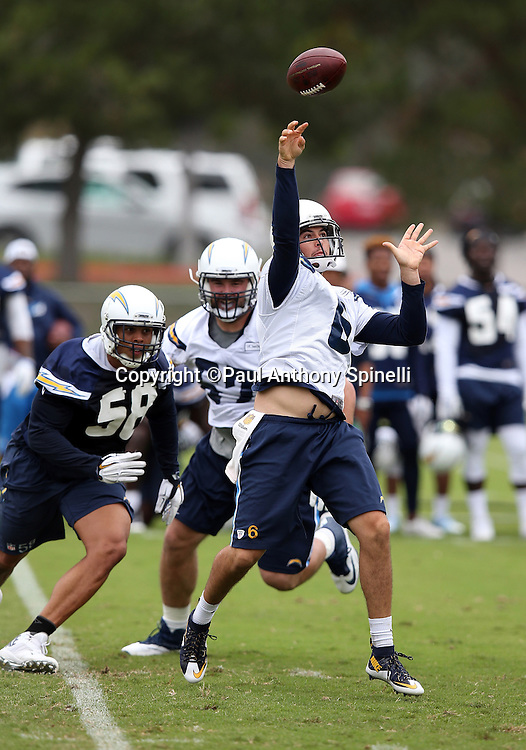 San Diego Chargers rookie quarterback Mike Bercovici (6) throws a pass during the Chargers 2016 NFL minicamp football practice held on Tuesday, June 14, 2016 in San Diego. (©Paul Anthony Spinelli)