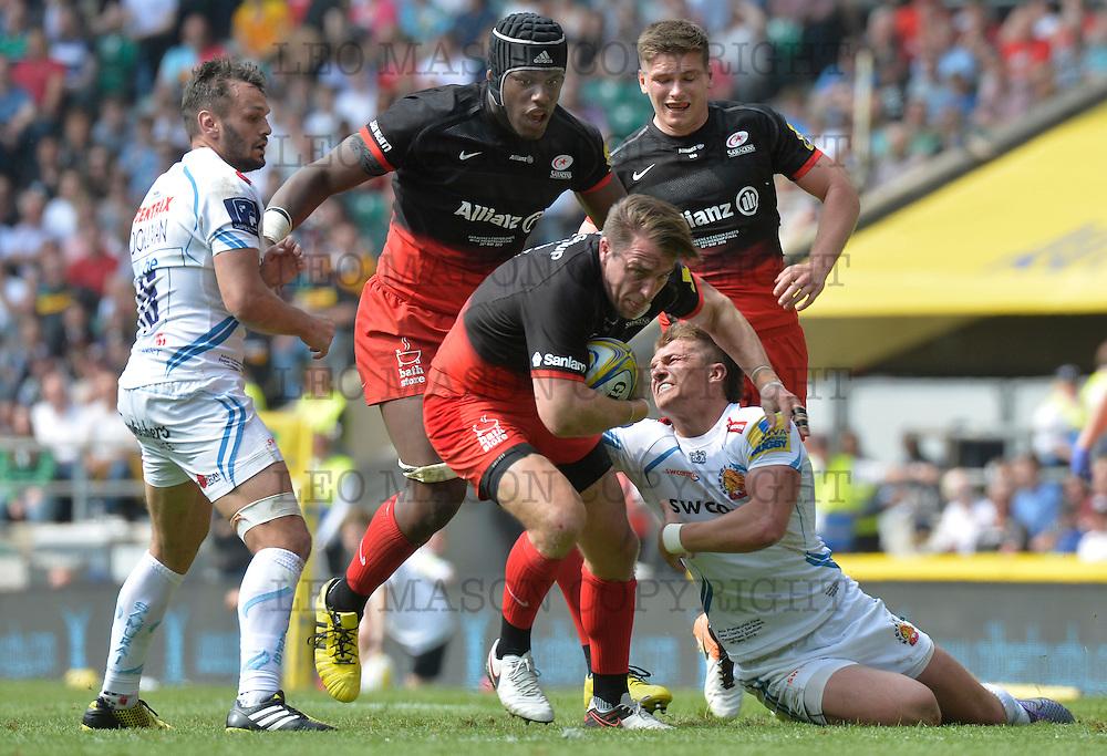 28.05. 2016 Aviva Premiership Rugby Final at RFU Twickenham UK  Saracens v Exeter Chiefs Action from the match which was won by Saracens 28-20