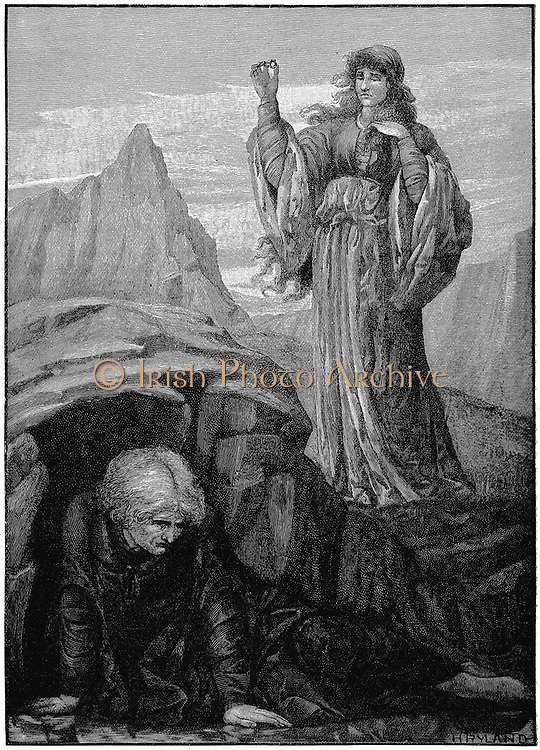 Morte d'Arthur' by Thomas Malory (d1471). Morgan le Fay casts a spell on Merlin. Engraving after Henry Ryland (1856-1924) English painter and illustrator .