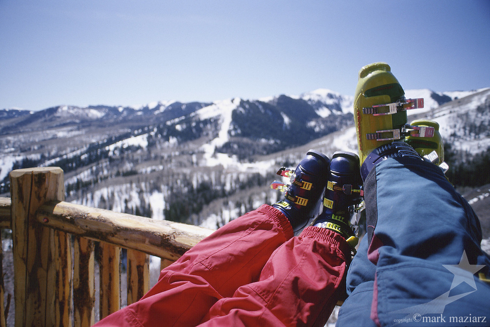 boots on deck at The Canyons, Park City, Utah, USA