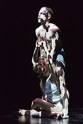 """© Licensed to London News Pictures. 22/06/2014. London, England. James O'Hara and Olivia Ancona perform """"Faun"""". Dress rehearsal of Eastman-Sidi Larbi Cherkaoui's """"4D"""". 4D is part of Sadler's Sampled, a two week taster festival of dance at low prices (standing tickets from GBP 8), which runs to 29 June 2014 at Sadler's Wells, London. Photo credit: Bettina Strenske/LNP"""